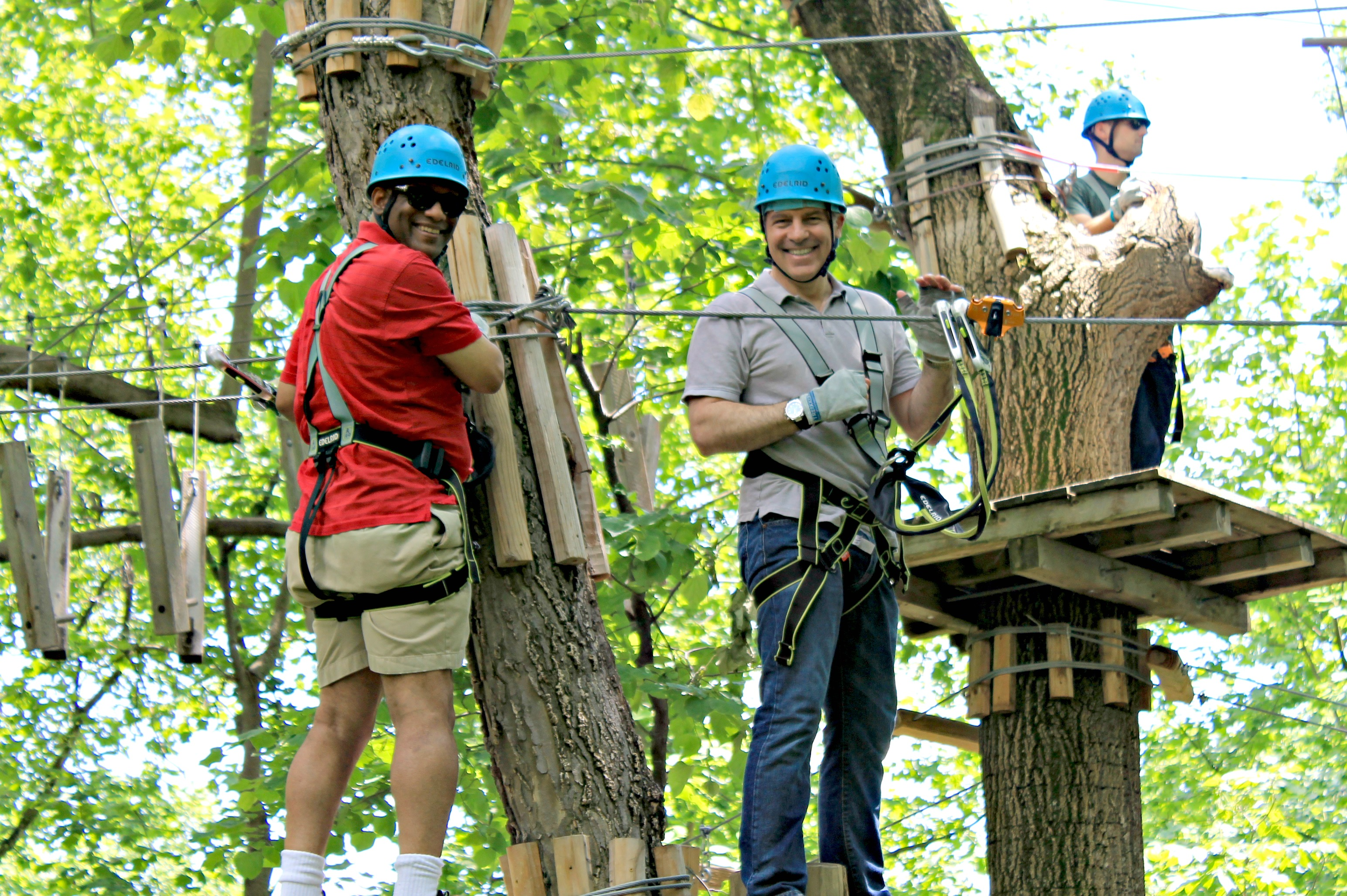 man enjoys aerial adventure park in harpers ferry wv