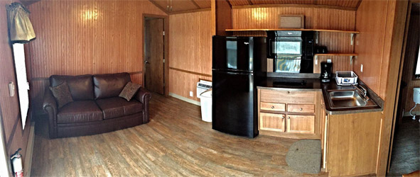 The inside of one of our cabins