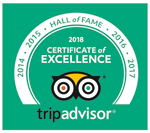 TripAdvisor - Hall of Fame - 2018 Certificate of Excellence